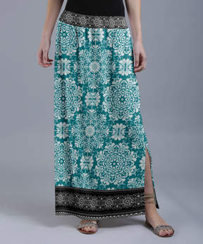 Lily Teal & Black Geometric Arabesque Maxi Skirt - Women & Plus