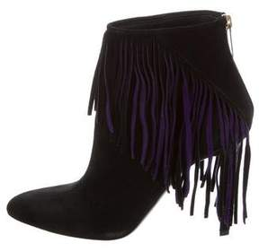 Tamara Mellon Suede Fringe Ankle Boots