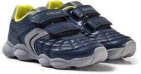 Geox Navy and Lime Junior Munfrey Velcro Trainers