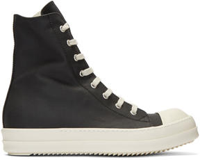 Rick Owens Black Nylon Cap Toe High-Top Sneakers