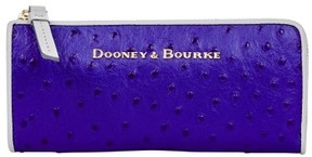 Dooney & Bourke Ostrich Zip Clutch Wallet - COBALT LIGHT GREY - STYLE
