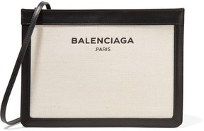 Balenciaga - Leather-trimmed Canvas Shoulder Bag - Cream