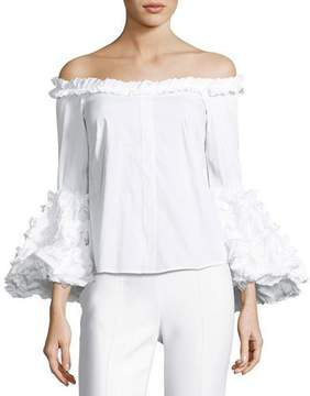 Caroline Constas Gisele Off-the-Shoulder Ruffled Poplin Top