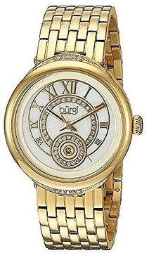 Burgi Mother Of Pearl Dial Ladies Gold Tone Watch