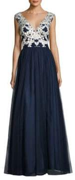 Aidan Mattox Embroidered Tulle Gown