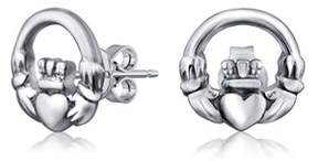 Celtic Bling Jewelry Claddagh Round Cut Out Stud Earrings 925 Sterling Silver 10mm.