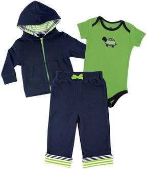 Luvable Friends Green & Navy Turtle Hoodie Set - Newborn