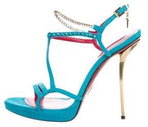Cesare Paciotti Suede Crystal-Embellished Sandals
