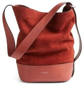 Rag And Bone Walker Sling Leather & Suede Bucket Bag - Red