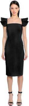 Antonio Berardi Bonded Cady Dress W/ Ruffled Shoulders
