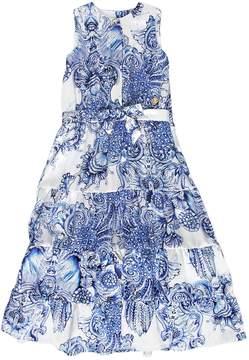 Roberto Cavalli Baroque Print Silk Satin Long Dress