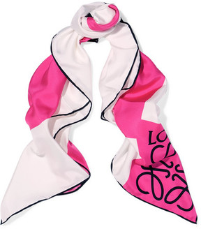 Loewe Anagram Color-block Silk-twill Scarf - Pink