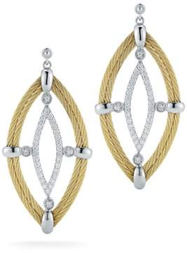 Alor 18K White Gold and Stainless Steel 2 Row Yellow Cable and 0.44ct Diamond Earrings