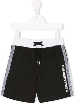 Karl Lagerfeld side stripe swimming shorts