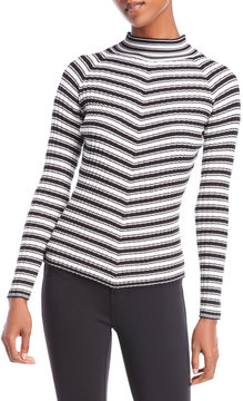 Cliche Mock Neck Ribbed Sweater