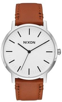 Nixon Men's Porter Round Leather Strap Watch, 40Mm