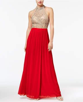 B. Darlin Juniors' Jeweled Contrast Halter Gown