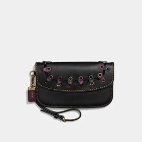 COACH Coach Clutch With Link - BRASS/BLACK MULTI - STYLE