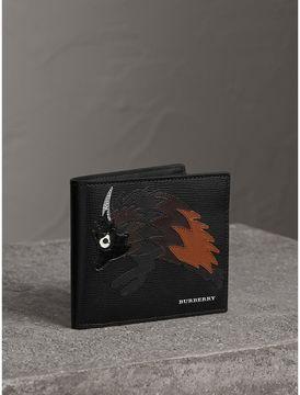 Burberry Beasts Motif Leather International Bifold Wallet