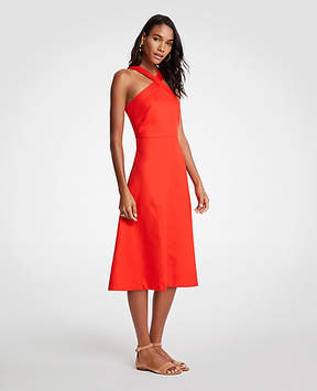 Ann Taylor Cross Neck Halter Midi Dress