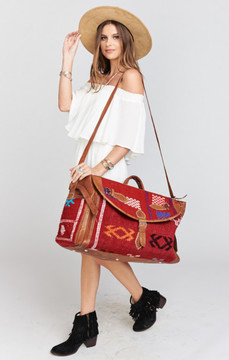 Pamela V ~ Chosica Travel Bag ~ Assorted Red Textile with Brown Leather