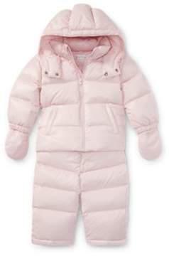 Ralph Lauren Hooded Down Snowsuit Hint Of Pink 9M