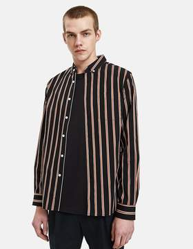 Saturdays NYC Crosby Satin Stripe Shirt in Black