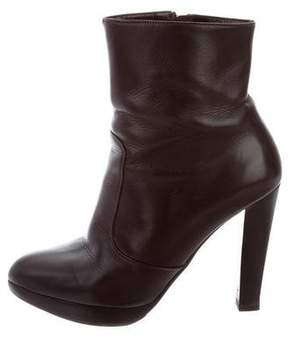 Brian Atwood Leather Round-Toe Ankle Boots