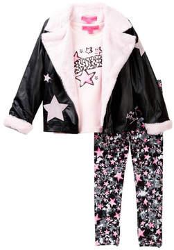 Betsey Johnson Star Tee, Pleather & Faux Fur Moto Jacket & Star Print Legging Set (Toddler Girls)