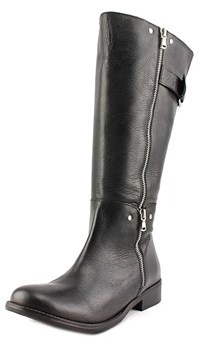 Two Lips Krave Widecalf Women Round Toe Leather Black Knee High Boot.