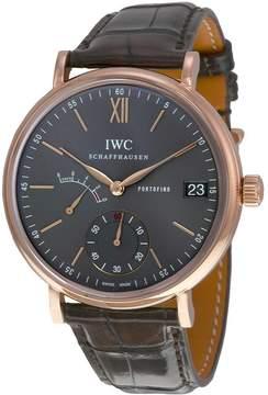 IWC Portofino Hand Wind Grey Dial 18 kt Rose Gold Men's Watch