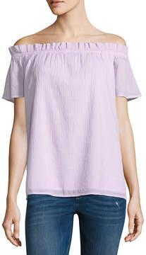 BELLE + SKY Short Sleeve Gauze Blouse