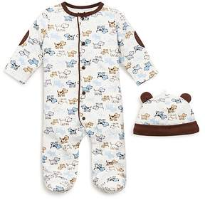 Little Me Boys' Puppy Print Footie & Hat - Baby