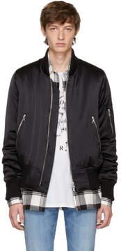 Amiri Black Silk Bomber Jacket