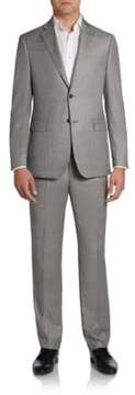 Saks Fifth Avenue BLACK Sharkskin Wool Two-Button Suit/Slim-Fit
