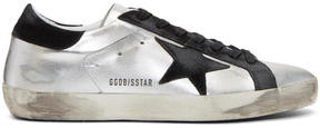 Golden Goose Deluxe Brand Silver and Black Superstar Sneakers