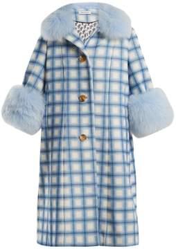 DAY Birger et Mikkelsen SAKS POTTS Yvonne fur-trimmed checked-wool coat