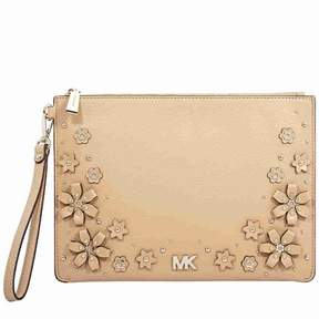 Michael Kors Medium Floral Embellished Leather Pouch- Butternut