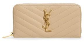 Saint Laurent Women's 'Monogram' Quilted Leather Wallet - Beige - BEIGE - STYLE