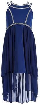 Bonnie Jean Big Girls 7-16 Rhinestone Trim High-Low-Hem Dress