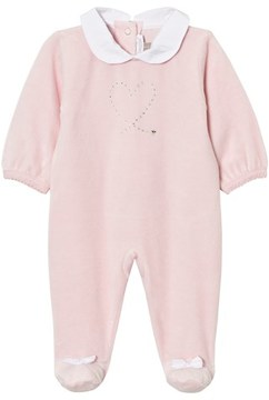 Absorba Pink Swarovski Heart Velour Collared Babygrow