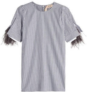 N°21 N21 Plaid Cotton Blouse With Ostrich Feathers