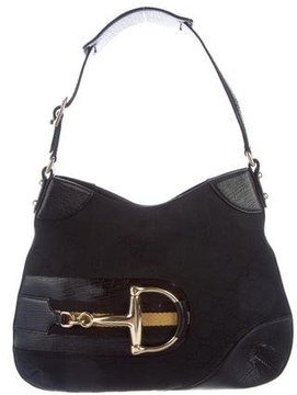 Gucci GG Canvas Hasler Horsebit Hobo - BLACK - STYLE