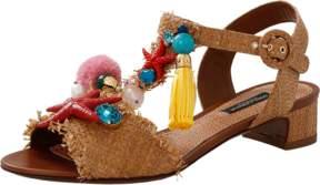 DOLCE & GABBANA Nautical Raffia Sandal