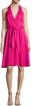 Badgley Mischka Platinum Sleeveless Tie-Waist Wrap Dress, Hot Pink