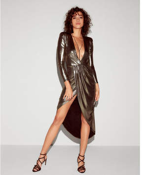 Express metallic asymmetrical hem maxi dress