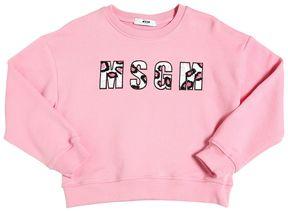 MSGM Embellished Logo Patch Cotton Sweatshirt