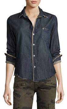 Frank And Eileen Barry Frayed Denim Button-Down Shirt