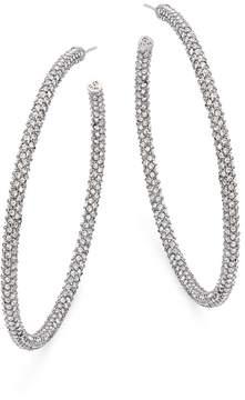 Adriana Orsini Women's Jumbo Micropave Silvertone Hoop Earrings