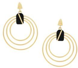 Botkier 4/25 Jet and Gold Inlay Concentric Earrings
